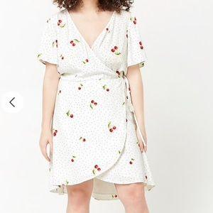 Polka Dot & Cherry Print Wrap Dress